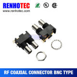 R/a Black Plastic PCB Mount Double Female BNC Connector