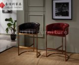 Stainless Steel Frame Bar Stool with PU and Leather Cushion