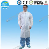 Hot Sale Non-Woven Lab Coat, Disposable Lab Working Coat, Protective Visitor Coat