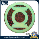 Die Casting Zinc Alloy Luminous Enamel Metal Coin, Glitter Enamel