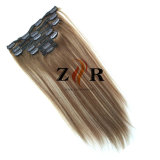 Piano Color Natural Drawn Russian Hair Clip in Human Hair Extension