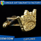 Factory Supply Personalized Metal Embossed Gold Plating Cufflink Sleeve Button