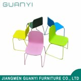 Simple Modern Design Stainless Steel Metal Legs High Back Stackable Wooden Dining Room Chair