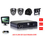 Bus 4CH Quad Video System with 7inch LCD Monitor and 4 Cameras for Sideview, Front View and Rearview