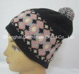 Fashion Jacquard Beanie Hat with Pompom (HJB008)