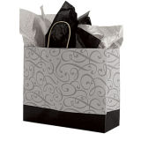 Large Black & Silver Swirl Paper Shopper Printed Gift Bags