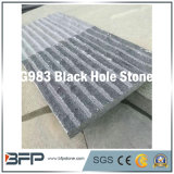 Natural Black Hole Stone Basalt Flamed for Wall Cladding Projects