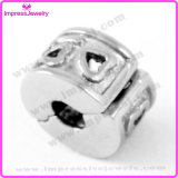 Heart Stamp Stainless Steel Charms Hole Jewelry Bead for Bracelet