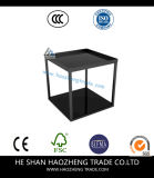 Hzct137 Open Box Modern Black Glass Steel Square Side Table