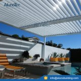 Adjustable Shade Pergola Attached to House Rooftop Patio