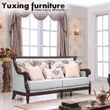Antique Fabric Sofa Set for Living Room with Wooden Carved Trim