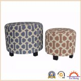 Stacking Round Upholstered Ottoman Foot Stool in Patterned Linen Fabric