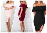Wholesale Sexy Lady off Shoulder Split Dress (A893)