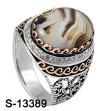 925 Silver Jewelry Zirconia Men Rings with Natural Agate.