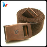 Brown Fabric Men Cotton Woven Belts with Copper Buckle