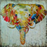 Watercolor Printed Elephants Painting for Interior Ornament (LH-028000)