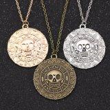 Jack Sparrow Aztec Coin Medallion Vintage Gold Bronze Silver Pendant Necklace