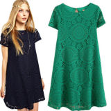 2015 European Style Casual Fashion Lace Dress for Girls (14208)