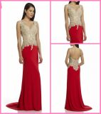 Gold Beads Party Prom Gowns Red Chiffon Homecoming Cocktail Evening Dresses Z9053