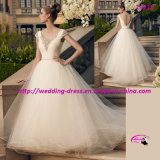 a Beautiful Matching Beaded V-Neckline Back Wedding Dress Gowns
