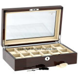 High Quality Watch Collectors Box for 12 Watches with Mahogany Veneer High Gloss Finish Case