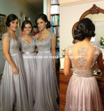 Evening Dress Cap Sleeves Silver Embroidery Chiffon Bridal Party Prom Cocktail Dresses a-Line Floor Length Bridesmaid Dresses E13202