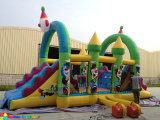New Funny Clown Inflatable Obstacle Slide Course