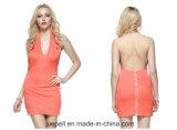 Skinny Sexy Deep V-Neck Backless Package Buttocks Evening Dress