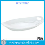 White Good Porcelain Serving Tray with Handles