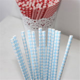 Disposable Blue Paper Straw Party Favor for Christmas
