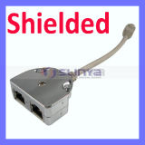 RJ45 Shielded Network Cable Splitter 1 Male to 2 Female Adapter Cable