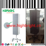 Floor Freestanding Four Sided Perforated Panel Display Stand with Hooks
