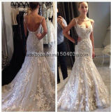 Spaghetti Bridal Dresses Lace Flowers Mermaid Wedding Gowns Z2086