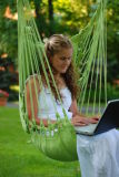 Swing Hammock Chair with Cushion and Wooden Rod