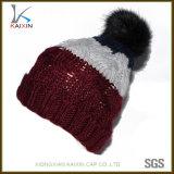 Hand-Made Colorful Jacquard Wool Winter Fleece POM POM Beanie Hat