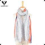 Women′s Super Soft Vertical Stripe Print Real Modal Scarf Short Fringes