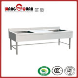 European Style Stainless Steel Sink Table with 2 Middle Bowl