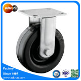 "Black Rubber 6 X 2"" Rigid Plate Caster"