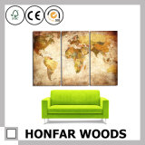 Vintage Frameless Earth Map Art Painting for Wall Decoration