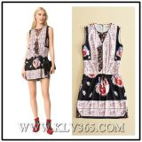 European High Quality Designer Clothes Lady Floral Printed Sleeveless Sweet Dress