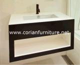Wood Cabinets Corian Basin Modern Vanity