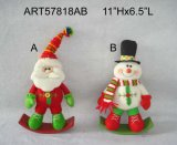 "11""Hx6.5""L Rocking Santa Snowman-Christmas Decoration"