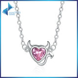 925 Sterling Silver Sweet Devil′s Heart Pink Crystal Pendants Necklace