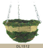 Cone Shaped Moss and Seagrass Hanging Flower Basket