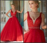 Red Prom Dress Beading Tulle Party Evening Dress 2017 Ld15291