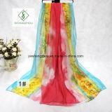 Aquarelle Transition Printed Beach Shawl L Fashion Lady Silk Scarf