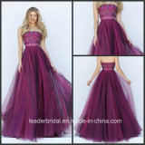 Strapless Prom Party Gowns Purple Beading Organza Evening Dress Sh50344
