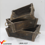 Stackable Handmade Vintage Wood Planter Box with Handle