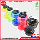 2.2L Fashion Fitness Dumbbell Sports Water Bottle with Cap