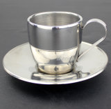 Healthcare Safe Stainless Steel 304 Coffee Cup with Saucer